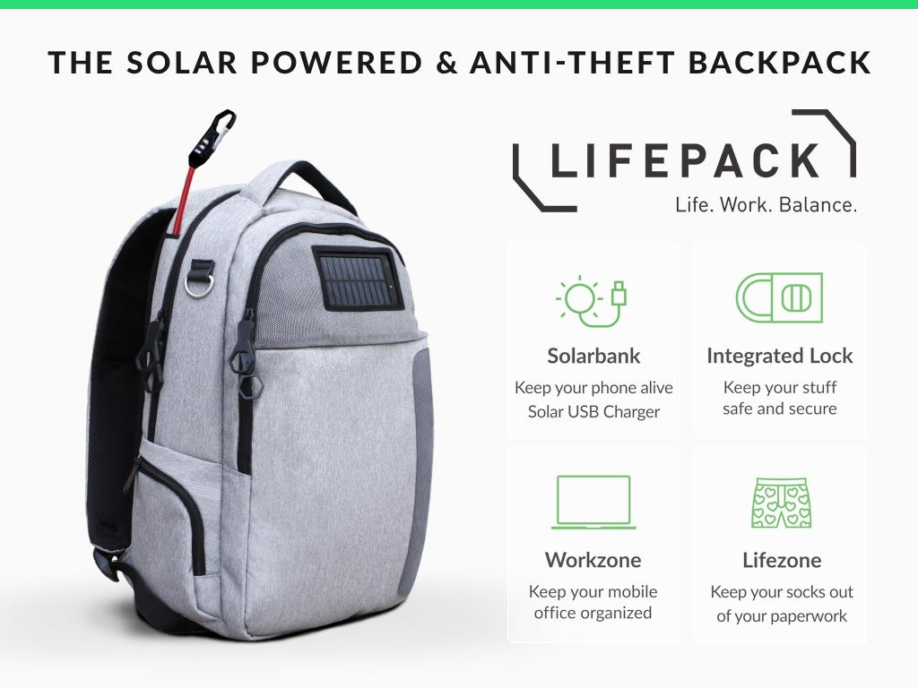 A Solar Powered Amp Anti Theft Backpack For City Dwellers